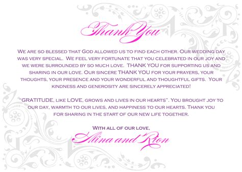 Thank You Letter Verbiage wedding thank you card wording money www imgkid