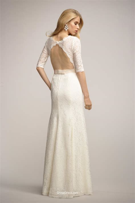 Ivory Lace Long Bridesmaid Dress with Boat Neckline and