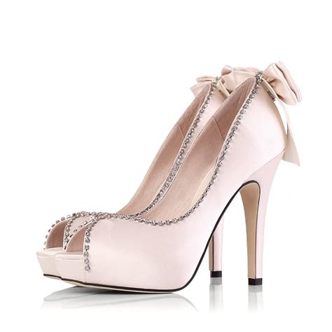 rhinestone high heel shoes rhinestone high heel peep toes bow bridal chagne prom