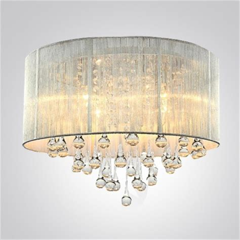 Semi Flush Chandelier Silver Drum Shade And Rich Crystal Rainfall Flush Mount