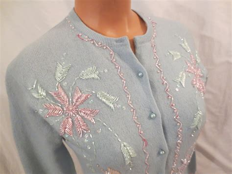 beaded cardigan pastel sparkle beaded cardigan sweater blue angora sweater