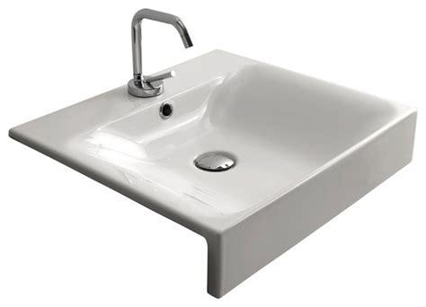 semi recessed bathroom sinks cento 3546 semi recessed bathroom sink 19 7 quot x 17 7
