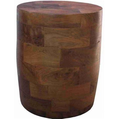 groovystuff teak wood barrel block side table tf 751