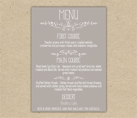 dinner menu templates free wedding menu dinner custom wedding reception by bejoyfulpaper