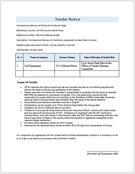 Tender Template Sle tender notice template format and additional chief