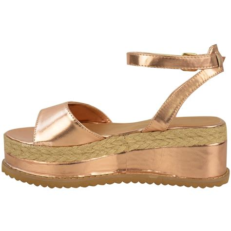 new womens chunky espadrille strappy sandals
