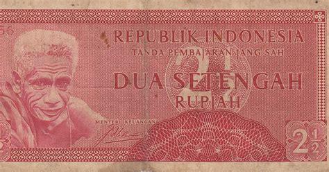 Uang Asli Dua Setengah Rupiah seri suku bangsa 2 189 dua setengah rupiah 1956