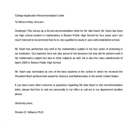 Recommendation Letter Format For Application Sle College Recommendation Letter 14 Free Documents