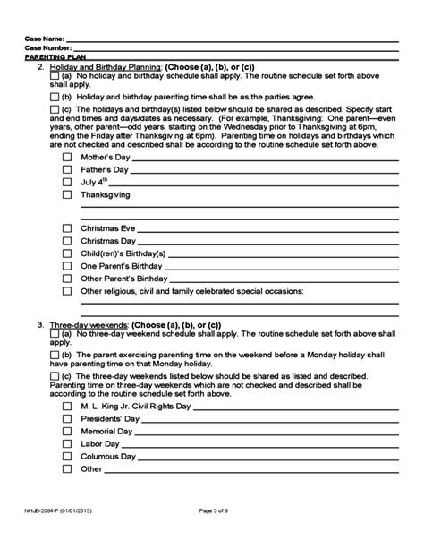 Free Parenting Plan Template Sanjonmotel Parenting Plan Template
