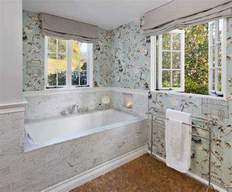 houzz wallpaper bathroom bathroom wallpaper traditional bathroom santa