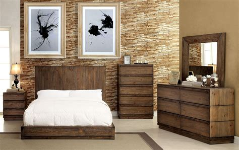 rustic bedroom sets 4 piece rustic wood panel low profile queen size bedroom