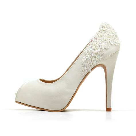 White Satin Bridal Shoes by Ivory White Wedding Shoesivory White Bridal Heelsivory White