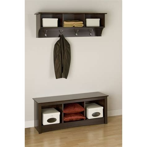 Entryway Cubbie Shelf With Coat Hooks prepac fremont espresso entryway cubbie shelf and coat rack www