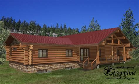 log home floor plans with garage and basement thorsby log home plans 7123sqft streamline design