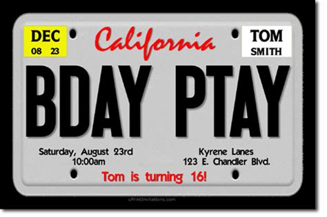License Plate Birthday Invitations Drivers License Invitations Candy Wrappers Thank You Cards License Plate Invitation Template