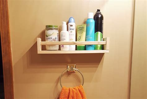 a small bathroom shelf ikea spice rack hack loving here