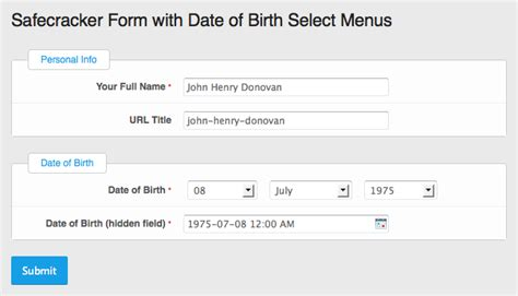 date of birth format templates managing a date of birth field in an expressionengine form henry donovan web designer