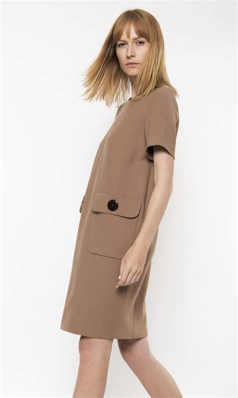 camel color dress camel color dress with sleeves and large pockets on