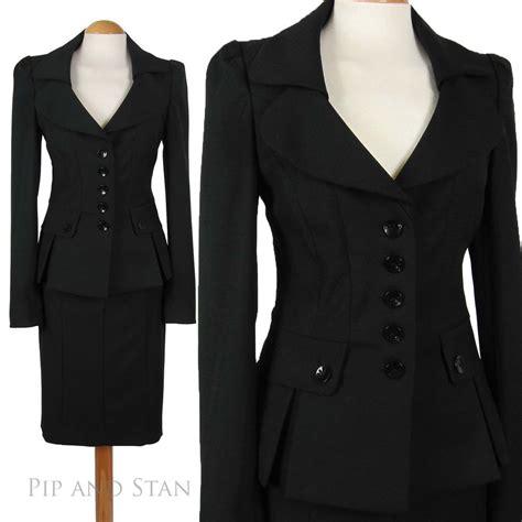 1950s 50s vintage style black pencil skirt suit next