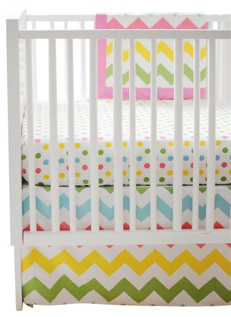Rainbow Crib Bedding Chevron Zig Zag Baby Rainbow Crib Bedding Set 4 By New Arrivals Inc Traditional