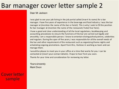 Bar Manager Cover Letter by Bar Manager Images