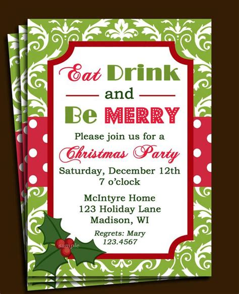 work christmas party invite invitation printable or printed with free