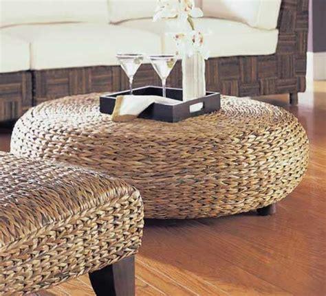 oversized  abaca weave wicker ottoman wicker coffee