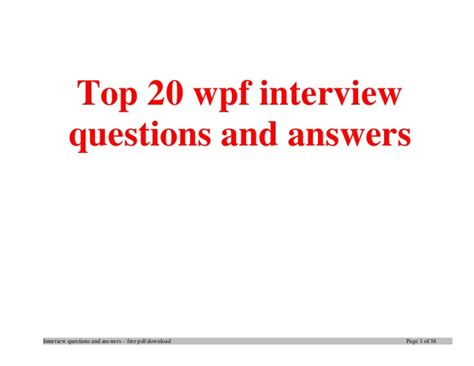 wpf tutorial questions top wpf interview questions and answers job interview tips