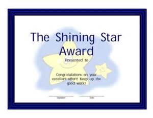 shining star award certificate 2 success certificates