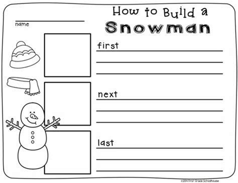 free printable snowman writing template first grade schoolhouse january s snowmen