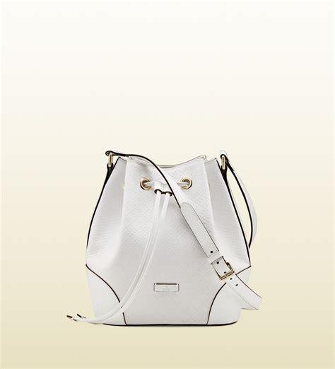 Guc Ci Leather White lyst gucci bright diamante leather bag in white