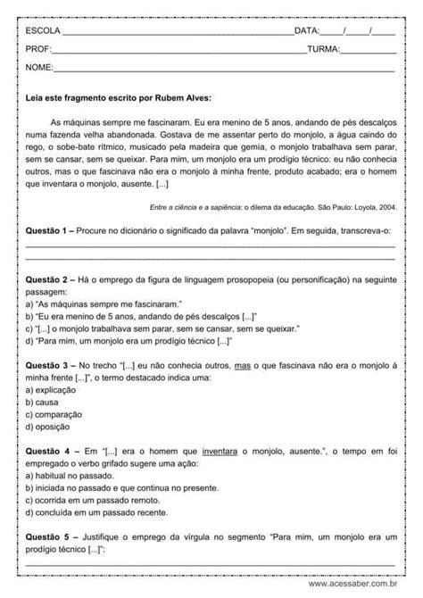 Atividade de português: Figura de linguagem, Prosopopeia