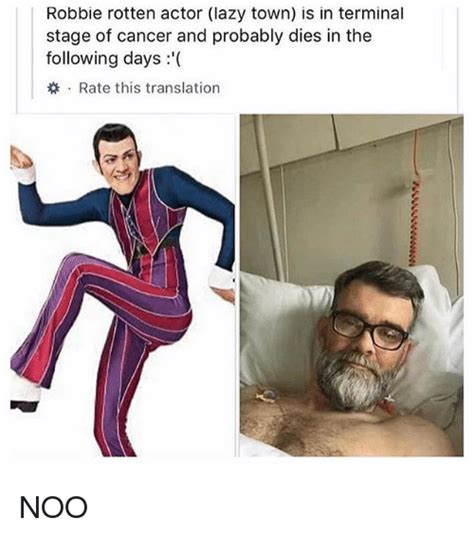 never dies how 20 late stage and terminal cancer patients beat the odds books robbie rotten actor lazy town is in terminal stage of