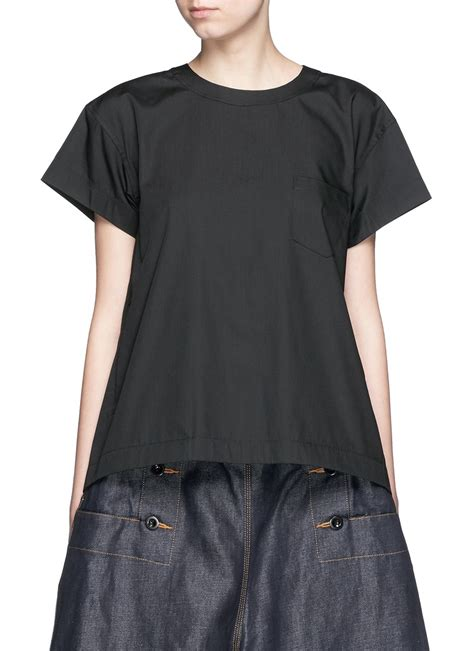 Mix Lace Shirt Black lyst sacai lace up back cotton blend poplin t shirt in black