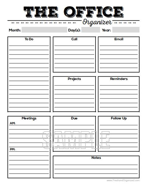 free printable office organizer the office organizer 2 planner page work planner office