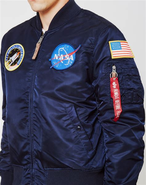 Nasa Bomber Navy lyst alpha industries ma 1 vf nasa bomber jacket navy in