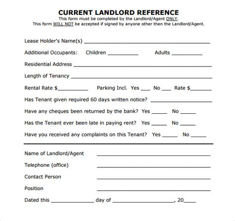 Reference Letter From Landlord Exle Landlord Reference Template 9 Free Documents In Pdf Word