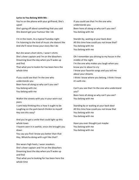 Me Me Me Full - lyrics to you belong with me