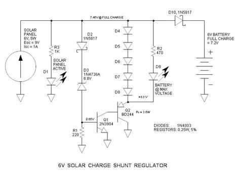 solar panel shunt diode 6v solar charge shunt regulator