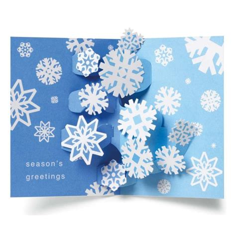 pop greeting cards swirling snowflakes pop up boxed