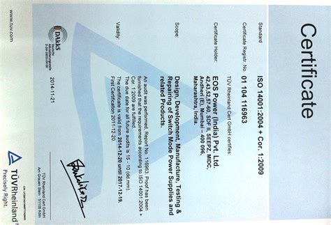 Certificate Of Quality Letter Of Credit Eos Power Standard Modified Customized Power Solution