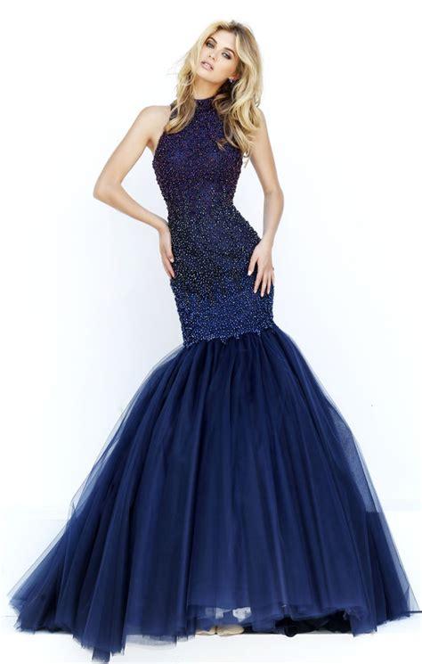 blue beaded dress high neck sleeveless beaded ink blue mermaid tulle prom