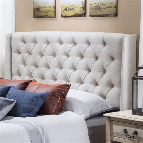 wingback queen headboard allen wingback queen full tufted beige fabric headboard