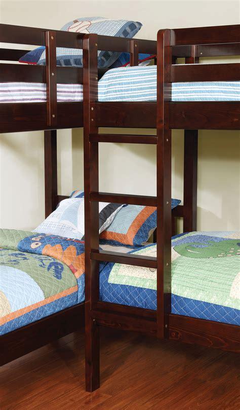 quadruple bunk bed marquette l shaped quadruple dark walnut finish twin bunk