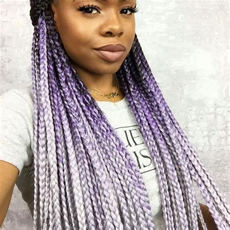 grey and purple combined together style box breads catface hair black lilac grey ombre jumbo braid hair boxbraids