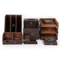 Desk Accessory Sets Office Desk Accessories Sets 8pcs Set Files Holder Pens Organizer Brown New Ebay