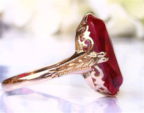 large vintage ruby engagement ring 14k yellow gold deco
