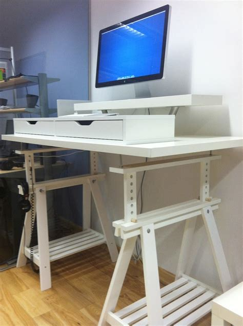 Standing Corner Desk Furniture White Stain Metal Corner Standing Desks Featuring White Stain Wooden Corner