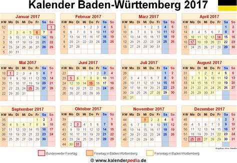 Kalender 2016 Druckversion Kalender 2017 Baden W 252 Rttemberg Ferien Feiertage Pdf