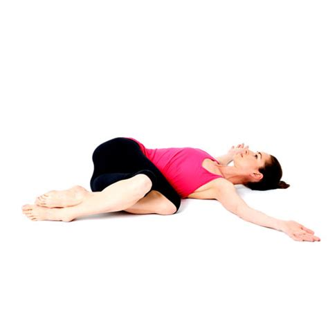 reclining twist pose om to fight food cravings